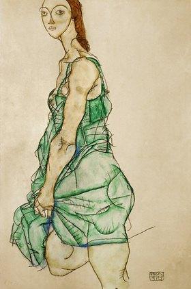 Egon Schiele: Stehende Frau in gr¸nem Hemd. 1914. 48,2 : 32 cm