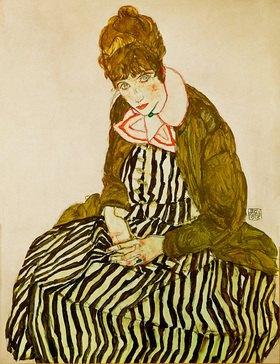 Egon Schiele: Edith Schiele, sitzend. Gouache, Wasserfarben und schwarze Kreide