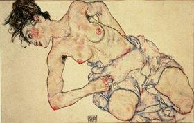 Egon Schiele: Kniender weiblicher Halbakt. Gouache, schwarze Kreide und Bleistift. 1917. 28 x 42,5 cm