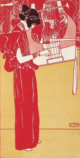Gustav Klimt: Musik (Stehende Lyraspielerin) Illustration für die Zeitschrift Ver Sacrum. Jahrgang IV, S. 214. Österreich