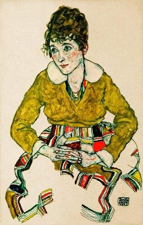 Egon Schiele: Bildnis der Gattin des Künstlers. Gouache und schwarze Kreide. 1917. 44 x 28 cm