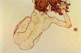 Egon Schiele: Kauernder Rückenakt. Gouache und Bleistift. 1917. 29,5 x 45 cm