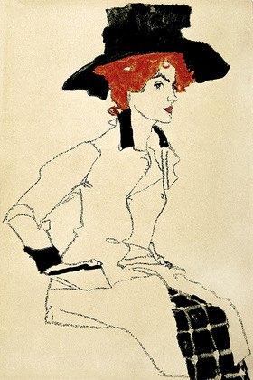 Egon Schiele: Frauenbildnis mit gro?em Hut. Postkarte der Wiener Werkstätte