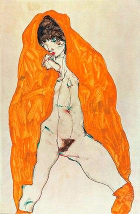 Egon Schiele: Stehender Akt mit gelbbraunem Umhangtuch