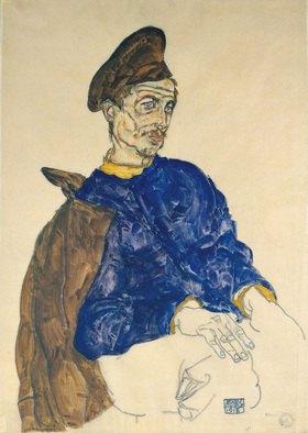 Egon Schiele: Sitzender russischer Kriegsgefangener