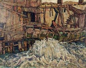 Egon Schiele: Zerfallene Mühle. Öl auf Leinwand