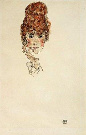 Egon Schiele: Portraitkopf Edith Schiele. Zeichnung Bleistift aqualelliert