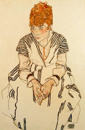 Egon Schiele: Schwägerin des Künstlers in gestreiftem Kleid, sitzend