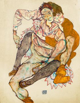 Egon Schiele: Sitzendes Paar: Egon und Edith Schiele, Gouache und Bleistift. Österreich