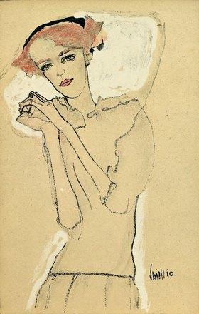 Egon Schiele: Frauenbildnis mit gefalteten Händen, Farblithographie