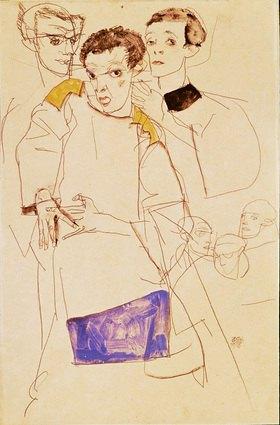 Egon Schiele: Dreifaches Selbstbildnis