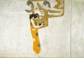 Gustav Klimt: Beethovenfries. Ausschnitt mit der figuralen Komposition Poesie. Kasein auf Stuck