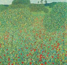 Gustav Klimt: Mohnwiese. Öl auf Leinwand