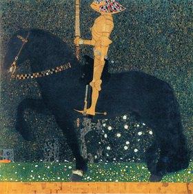 Gustav Klimt: Das Leben ein Kampf, auch Der goldene Ritter. Öl/Lwd., 100 x 100 cm