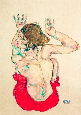 Egon Schiele: Rückenakt eines auf rotem Tuch sitzenden Mädchens