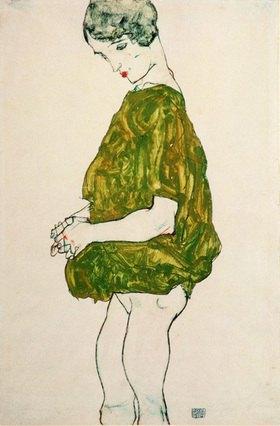 Egon Schiele: Stehende Frau mit gefalteten Händen