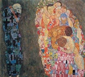 Gustav Klimt: Tod und Leben Öl auf Leiwand