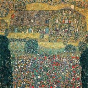 Gustav Klimt: Landhaus am Attersee Öl auf Leinwand im