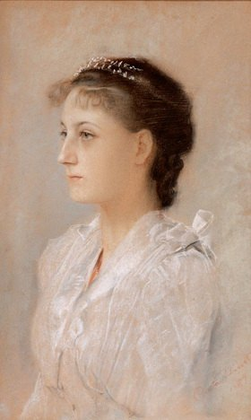 Gustav Klimt: Brustbild Emilie Flöge. Wien. Pastell/Karton