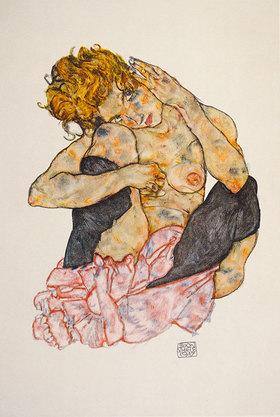 Egon Schiele: Kauernder Mädchenakt, die Wange auf das rechte Knie gelehnt. Gouache, schwarze Kreide