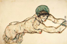 Egon Schiele: Reclining Female Nude with Green Cap, Leaning to the Right, Aquarell