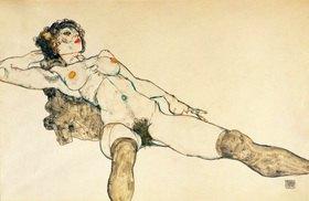 Egon Schiele: Liegender weiblicher Akt mit gespreizten Beinen. Gouache / Tempera