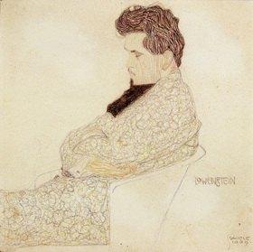 Egon Schiele: Portrait des Komponisten Arthur Löwenstein. Zeichnung mit Buntstift, Kohle