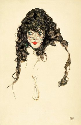 Egon Schiele: Frau mit schwarzem Haar