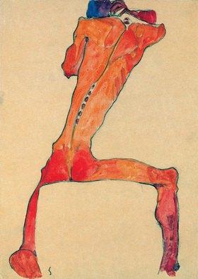 Egon Schiele: Männlicher Rückenakt mit gespreizten Beinen sitzend. Aquarell, Kohle