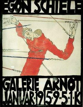 Egon Schiele: Plakat für Egon Schieles Ausstellung in der Wiener Galerie Guido Arnot im Januar 1915. Mischtechnik