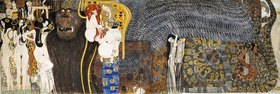 """Gustav Klimt: Beethovenfries. Ausschnitt mit der figuralen Komposition """" Die feindlichen Gewalten und Nagender Kummer"""". Wien. Kasein auf Stuck"""