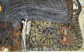 Gustav Klimt: Beethovenfries. Ausschnitt mit der figuralen Komposition Nagender Kummer. Kasein auf Stuck