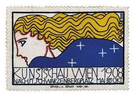 Löffler Bertold: Reklamemarke (und Plakat) für die Kunstschau Wien 1908. Farblithographie, 1908. Druck von A. Berger