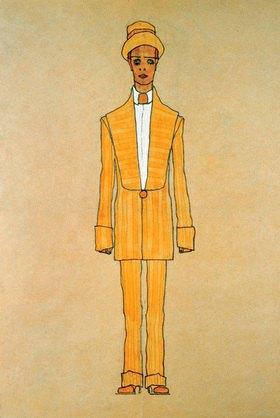 Egon Schiele: Modeentwurf: Gestreifter Herrenanzug und Hut