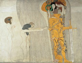 """Gustav Klimt: Beethovenfries. Ausschnitt mit den figuralen Kompositionen """"Die Leiden der schwachen Menschheit"""" und """"Die Sehnsucht nach Glück"""". Zustand vor der Restaurierung. Kasein/Stuck"""