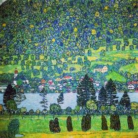 Gustav Klimt: Waldabhang in Unterach am Attersee. Öl/Lwd
