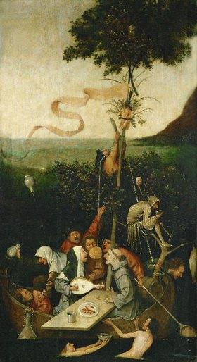 Hieronymus Bosch: Das Narrenschiff. Öl/Holz. 58 x 32,5 cm