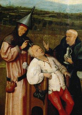 Hieronymus Bosch: Das Steinschneiden. Öl/Holz. Detail