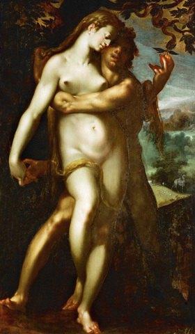 Bartholomäus Spranger: Sündenfall.  1593-1595, 126 x 79 cm