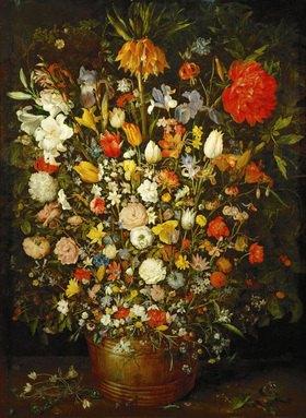 Jan Brueghel d.Ä.: Großer Blumenstrauss in einem Holzgefäß. 1606/07. Öl/Holz. 98 x 73 cm