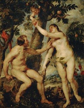 Peter Paul Rubens: Adam und Eva; freie Kopie des Gemäldes von Titian. Um  1570, 237 x 184 cm