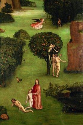 Hieronymus Bosch: Adam und Eva. Die Vertreibung aus dem Paradies. Detail. Der jüngste Tag, linker Flügel eines Altars. Öl auf Eiche
