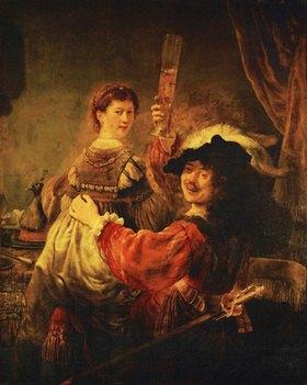 Rembrandt van Rijn: Rembrandt ( Selbstportrait) und Saskia in der Parabel des verlorenen Sohns.  Öl/Lw. (1635-1639). 161 x 131 cm