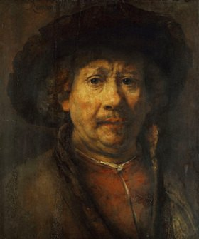 Rembrandt van Rijn: Selbstportrait von Rembrandt (Das kleine Selbstportrait). Öl/Holz. Um 1657. 48,8 x 40,6 cm