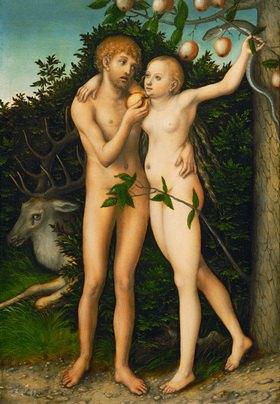 Lucas Cranach d.Ä.: Der Sündenfall. Gemälde.  Nach 1537.