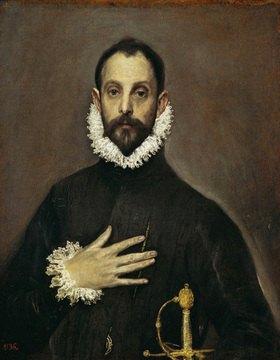 Greco El (Dom.Theotokopoulos): Der Edelmann, möglicherweise Don Juan da Silva. Gemälde. 1577- 1584