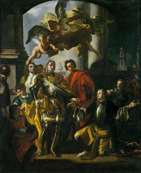 Francesco (L´Abate) Solimena: Gundaker Graf Althan, Dierektor der kaiserlichen Hofmobilien und Kaiser Karl VI. Wien. 1728. Öl auf Leinwand, 68 x 56 cm