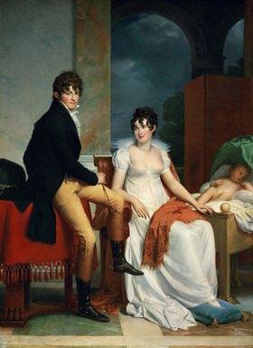 Graf Moriz Christian Fries und Gräfin Fries mit Kind. Gemälde. 1805. 223 x 163,5 cm