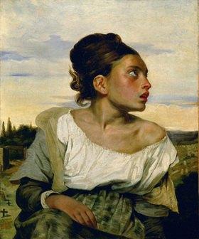 Eugene Delacroix: Jeune orpheline au cimetiere - Waise auf dem Friedhof. Gemälde