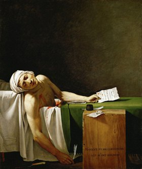 Jacques Louis David: Jean Paul Marat, Ermordet in seiner Badewanne. Gemälde